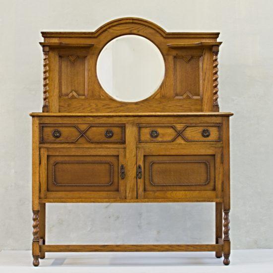 anglická dubová komoda se zrcadlem příborník mirrored sideboard vintage stylový nábytek po renovaci do původního stavu restored furniture