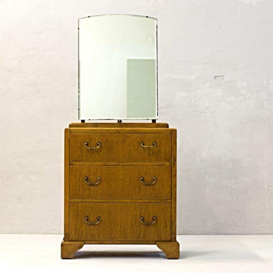 anglická dubová toaletka se zrcadlem stylový vintage nábytek