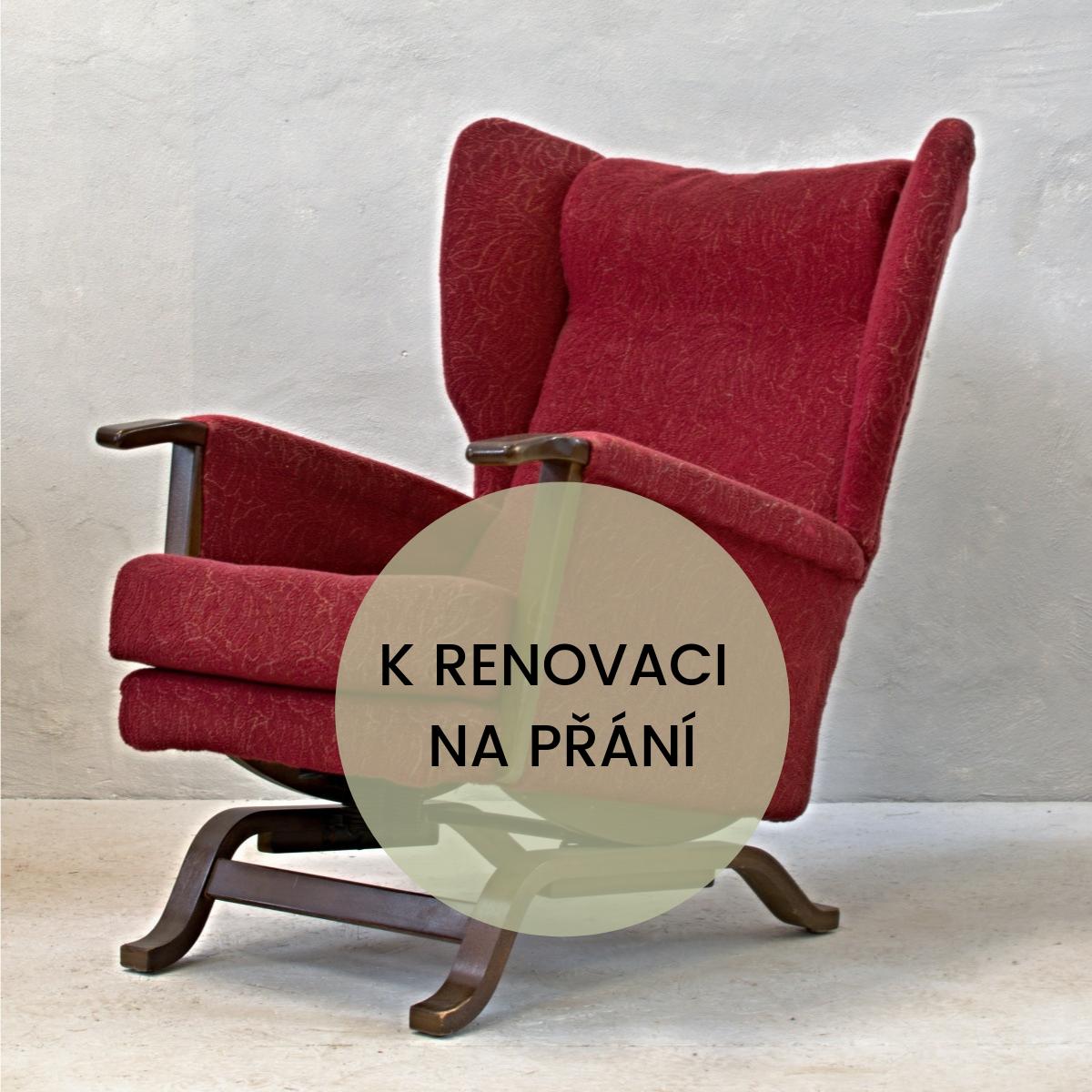 dvojice houpacích křesel k renovaci anglický stylový vintage nábytek původní barva potahu červená