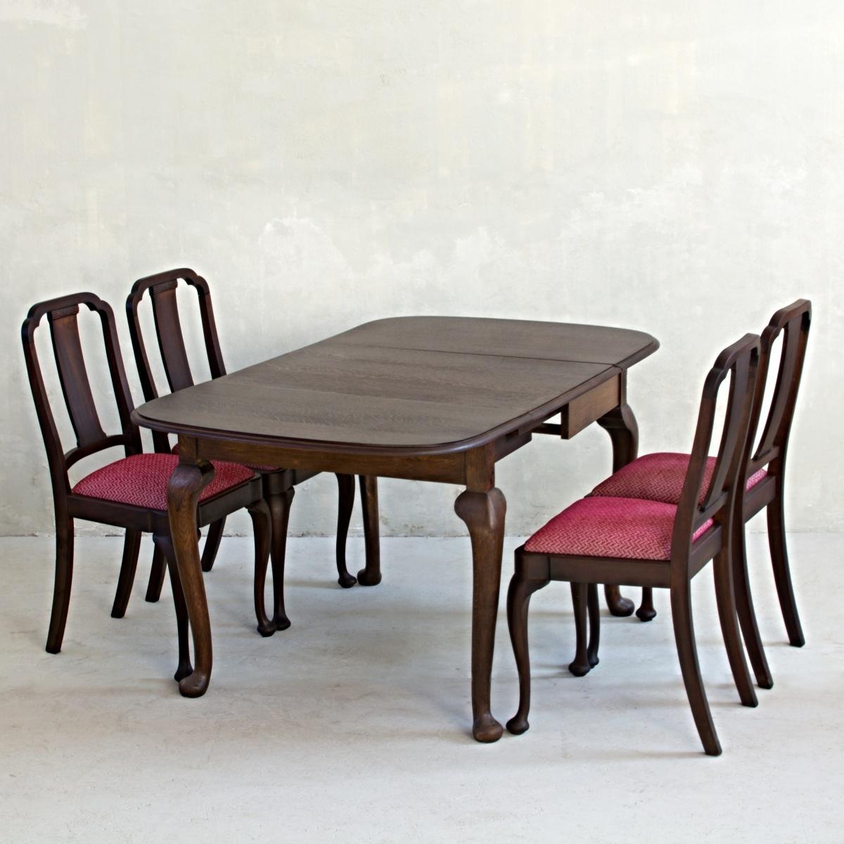 Stůl královna Anna se 4 židlemi 2