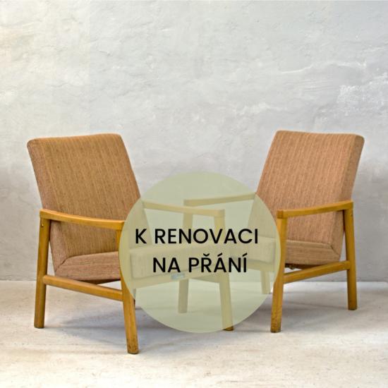 béžová křesílka k renovaci na přání retro nábytek pře renovací