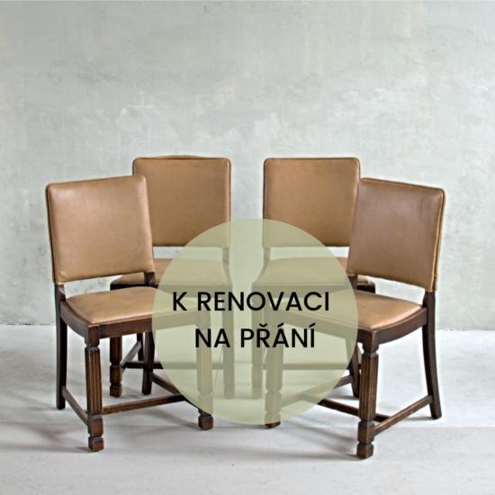 Sada čtyř anglických vintage židlí v původním stavu k renovaci