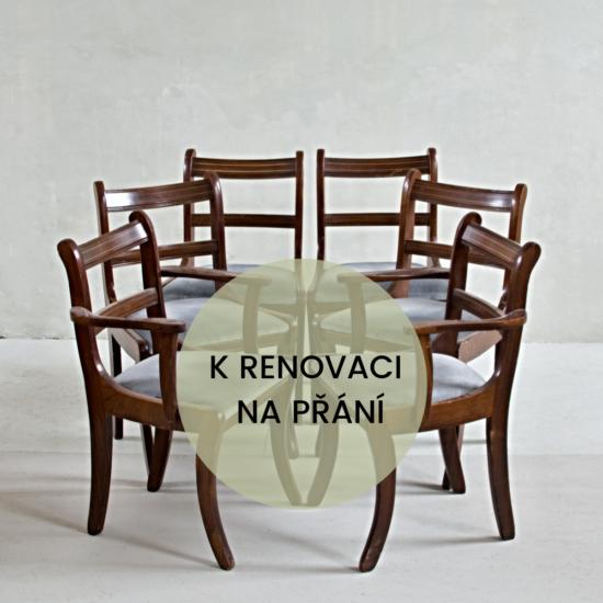 Sada šesti židlí Regency k renovaci na přání. Čtyři židle jsou bez područek a dvě mají područky