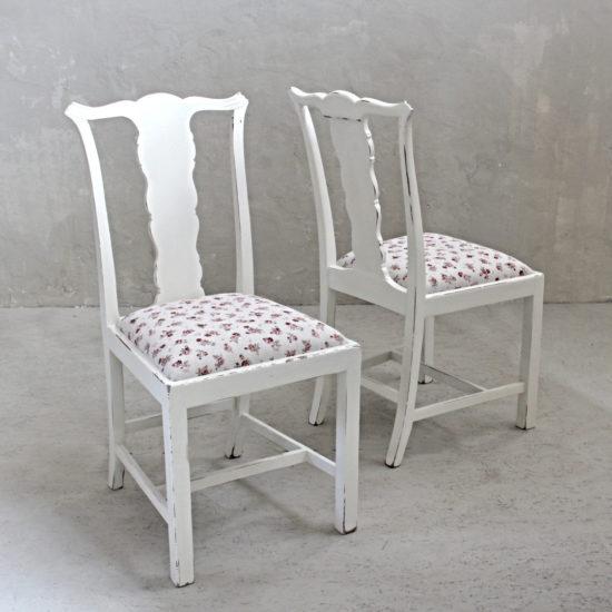 Provence židle s potahem z růžičkové látky