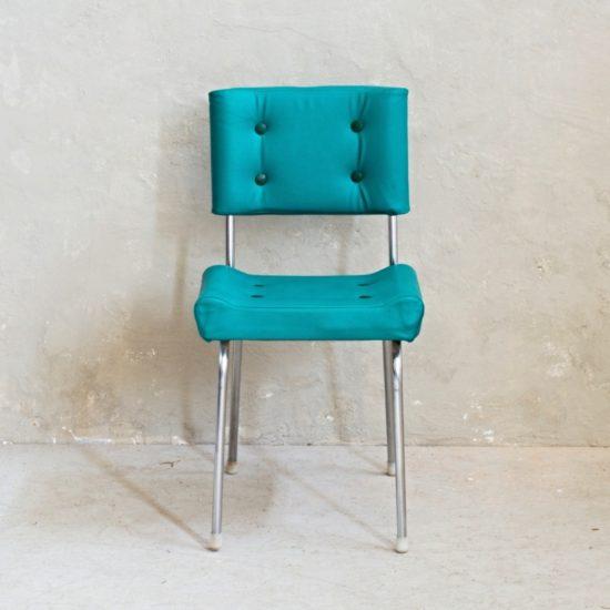 Tyrkysová retro židle chromové nohy