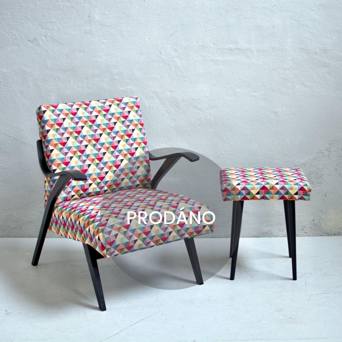 Prodej retro nábytku retro kresilko s podnožkou