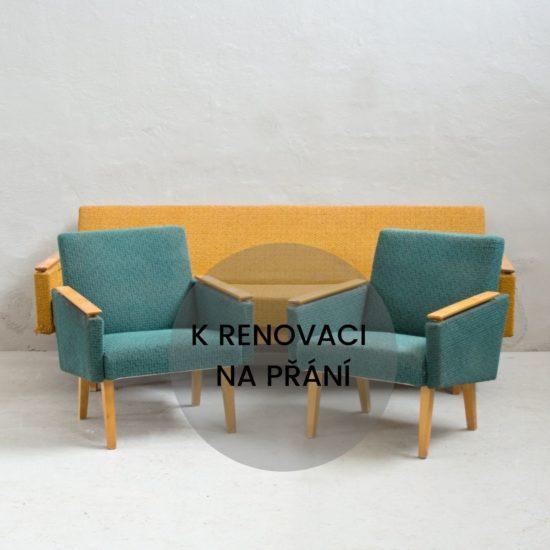 Renovace retro nábytku retro rozkládací sedačka s křesílky